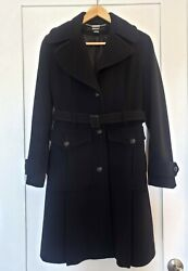 Dkny Black Wool Cashmere Felt Belted Trench Coat Sz 4 / Small