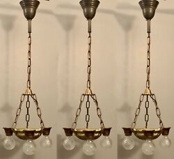 Set Of Three Antique Lincoln Art Deco Ceiling Light Fixtures Chandeliers 90f