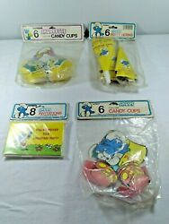 Lot Of Vintage Smurfs Invitations, Candy Cups, Party Horns And Smurfette Candy Cup