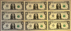 Nine - 9 1 Dollar ✯ Star Note From Frband039s Abefghjkl 9 Out Of 10 Issued