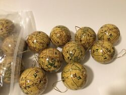 Set Of 22 Brown Earth World Globe Christmas Ornament Paper Mache 2andrdquo Vintage