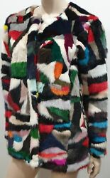 Jane And Tash Womenand039s Bespoke Multicolour Patchwork Real Fur Lined Jacket Coat Xs