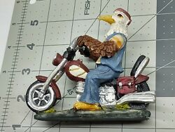 Bald Eagle Driving Motorcycle Wearing Necklace Figurine Saddle Bags Solid Build