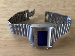 Fossil Led Menandrsquos Watch 2002 Jr-7805 Steel Blue Lcd Super Rare