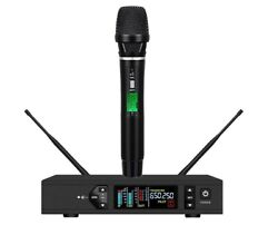 Professional Wireless Microphone System Uhf True Diversity Stage Vocal Mic Black