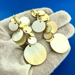 Dramatic 14k Yellow Gold Mother Of Pearl And Gold Disc Chandelier Earrings