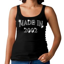19th Birthday Made In 2002 Ladies Vest Crystal Design All Sizes Choose Any Date