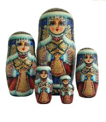 Russian Nesting Dolls Stacking Matryoshka Painted At Hand Suit Branded/5 Parts