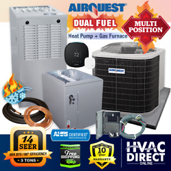 3 Ton Airquest By Carrier 14 Seer 80 66k Btu Gas Furnace And Heat Pump System Kit