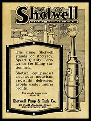 1917 Shotwell Pump And Tank Co. New Metal Sign Visible Gas Pumps, Indianapolis In