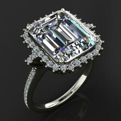 14k White Gold Plated 7.00 Ct Emerald White Moissanite Solitaire Engagement Ring