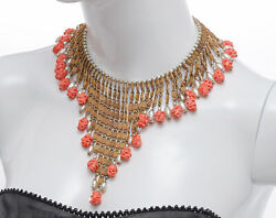 Vtg 1950s Signed Miriam Haskell Necklace Bib W/ Glass Art Roses And Faux Pearls