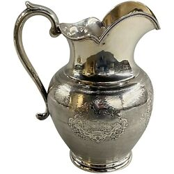 925 Silver Pitcher With Landscape Scenes Gale And Willis Ny 1859