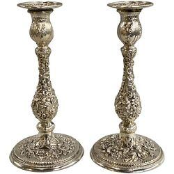 Pair Of 925 Sterling Silver Foliate Repousse Candlesticks S. Kirk And Son Co