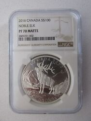 2016 Canada Silver 100 Noble Elk Graded Pf70 Matte By Ngc