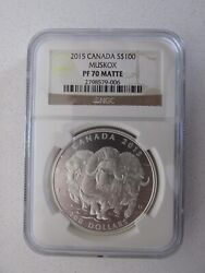 2015 Canada Silver 100 Musk Ox Graded Pf70 Matte By Ngc