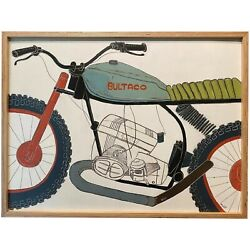 Christopher Myott Modernist Abstract Oil Painting Of A Motorcycle Bultaco