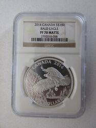 2014 Canada Silver 100 Bald Eagle Graded Pf70 Matte By Ngc