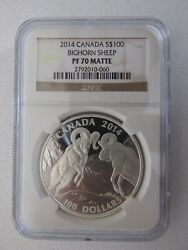 2014 Canada Silver 100 Bighorn Sheep Graded Pf70 Matte By Ngc