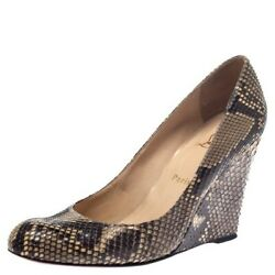 Christian Louboutin Authentic Python Leather Classic Ron Ron Wedge Pumps 35.5