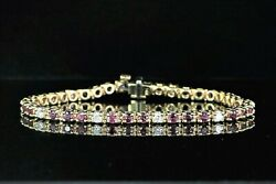 8500 14k Solid Yellow Gold Red Ruby Round Diamond Prong Set Tennis Bracelet