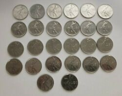 Lot Of 26 Different Italian 50 Lire Coins Circulated 1950and039s-1980and039s