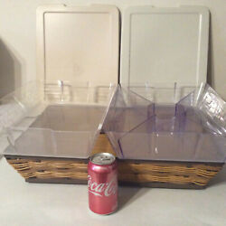 5 Pc On The Veranda Tray And 2 Lidded Protectors Longaberger Indoor Outdoor New