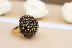 Vintage Chunky 18k Gold Ring With Garnets