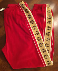 Mens 1500 Red Velour Loose Jogging Pants Sz.small Nwtag Italy