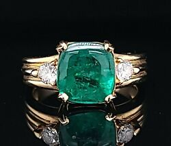 Vintage 18k Yellow Gold  Ring 2.25ct. Natural Colombian Green Emerald