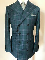 Green Plaid 8 Button Ariston Double Breasted Wool Suit With Peak Lapel