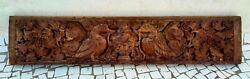 Ancient Rare Wooden Door Panel Old Fine Rose Pot Garuda Floral Carved Wall Panel