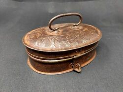 Antique Iron Tool Box Floral Bird Carved Instrument Pencil Box Hand Forged Old
