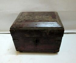 Antique Old Hand Carved Wooden Box Brass Work Merchant Box Money Box Collectible