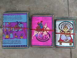 Hand Made Paper Note Book Indian Journal Diary Camel Elephant Ganesha Print 3p
