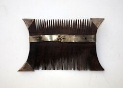 Vintage Hand Made Silver Strip Bells Work Wooden Comb Precious Wood Collectible