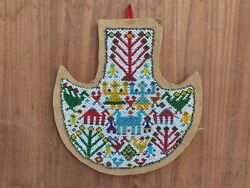 Antique Beads Work Hanging Hand Fan Bird People Carved Indian Hanging Home Decor