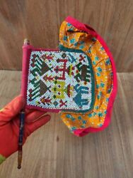 Antique Beads Work Fan Floral Horse Camel Figure Hand Hold Fan Ethnic Textile