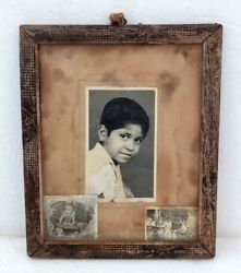 Vintage Lot 3 Black And White Kid Photo And Family Wooden Frame
