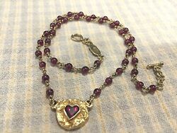Rare Lee Brevard 18 K Yellow Gold Garnet Necklace With Heart Charm