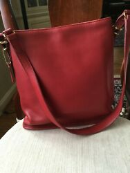 COACH BAG STYLE 9806 SLIM EQUESTRIAN BUCKET BAG RED EXCELLENT CONDITION $79.99