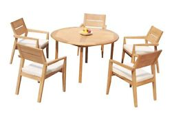 A-grade Teak 6pc Dining 52 Round Table 5 Vellore Stacking Arm Chairs Set Patio