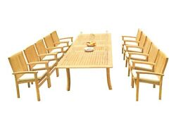 A-grade Teak 11pc Dining 118 Rectangle Table 10 Wave Stacking Arm Chairs Set