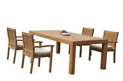 A-grade Teak 5pc Dining Canberra Rectangle Table Leveb Stacking Arm Chairs Set