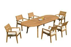A-grade Teak 7pc Dining 118 Oval Table 6 Vellore Stacking Arm Chairs Set Patio