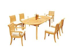 A-grade Teak 7pc Dining 118 Oval Table Giva Chair Set Outdoor Patio