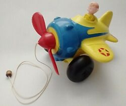 Vintage 1960's Mascon Toy Plastic String Pull Behind Airplane Blue Yellow Pilot