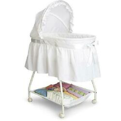 Baby Bassinet Infant Sleeping Area W/ Canopy And Storage White Includes Mattress