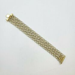 Vintage Bracelet 25mm 18k Solid Gold And Platinum 8and039and039 30.7 Gram Italy
