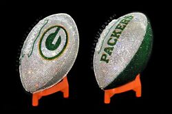 Full Size Crystallized Football Green Bay Packers Genuine Crystals Bling Nfl